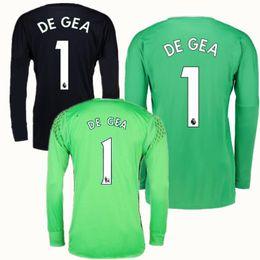 Wholesale Soccer Jersey Goalkeeper - 2017 2018 Thailand Long Sleeve #1 De Gea Goalkeeper Jersey Black Soccer Jerseys David De Gea Romero Green United Full Football Shirts