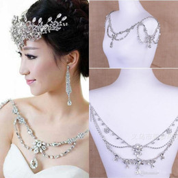 Wholesale Cheap Silver Heart Necklace - 2016 New Stunning Cheap Shoulder Chain Hot Sale Fashion Noble Crystal Bridal Necklace Temperament Beading Wedding Accessories Body Jewelry