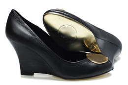 Wholesale Designer Ladies High Heel Shoes - Famous Brand Designer Fashion OL Office Lady 8 CM Wedge High Heels Wedges Women Leather Pumps Shoes Sz 35-41