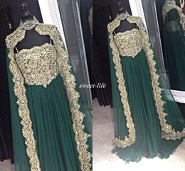 Wholesale Kaftan Wedding Dresses - Moroccan Kaftan Arabic Design Women Formal Evening Gowns with Cape Green Tulle Applique 2016 Custom Made Wedding Mother of the Bride Dresses