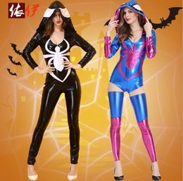 Wholesale Wholesale Trousers Women - Halloween Costumes Black Leather Tight Cosplay Anime Sexy Clothing Siamese Siamese Trousers Spider Clothes