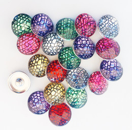 Wholesale Button Textures - 30pcs lot Mix Colors Fashion Plastic Resin Stone Texture Noosa Chunks Metal Ginger 18mm Snap Buttons For Diy Bracelet Jewelry Findings