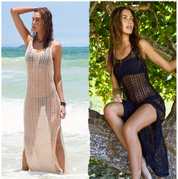 Wholesale Long Beach Cover Up Dresses - Sexy Hollow out Lace Long Beach Dress 2016 Hot Sale Spaghetti Straps Neck Backless Side Split Ankle Length Bikini Cover ups Cheap