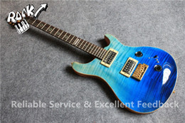 Guitarra eléctrica de caoba natural online-Custom Shop Reed Smith Guitarra 22 trastes Tiger Flame Maple Top Blue Faded Guitarra eléctrica Abalone Flower Inlay Natural Mahogany Back and Side