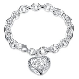 Wholesale Silver Hollow Heart Charm Bracelet - 925 Silver Plated Bracelet Solid Thick Bracelet with Hollow Heart Shaped Charms Bangle Bracelet Valentine's Day Gift High Quality