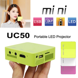 Wholesale Pocket Projector Battery - New UNIC UC50 Mini Portable Pico Pocket Projector DLP HDMI 1080P 50ANSI LM Home Theater TV Beamer Multi-Media Player Cinema Built-in Battery