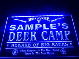 Wholesale Deer Signs - DZ029b- Name Personalized Custom Deer Camp Big Racks Bar Beer LED Neon Beer Sign