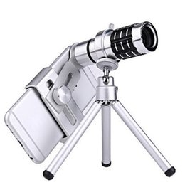 Wholesale Mobile Phones Telescope Camera 12x - Telescope Camera Lens 12X Optical Zoom No Dark Corners Mobile Phone Telescope Tripod for iPhone 6 7 Galaxy S7 S8 with Retail Package
