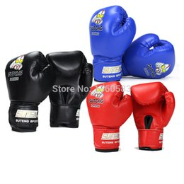 Wholesale Cartoon Train Box - 1 Pair Kids Children Altman Cartoon Sparring MMA Kick Fight Boxing Gloves Red Training Punching Gloves 3colors Age3-11