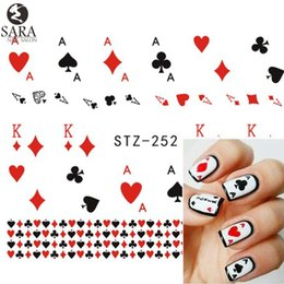Wholesale Hearts Transfers - Wholesale- Sara Nail Salon 1 Sheet Playing Card Red Heart Nail Art Stickers Nail Water Transfer Decoration DIY Watermark Tools STZ252