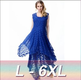 Wholesale Spandex Two Piece Dress - 2016 Summer Women Dress Two Pieces Beach Dresses L-6XL Plus Size Dress Bohemian Lace Dress Maxi Dress Fashion Strap Dress