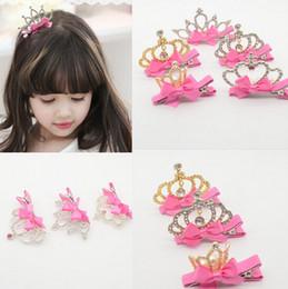 Wholesale Crystal Hair Clip Children - 2016 Cute Style Baby Girls Children Shiny Crown Rhinestone Princess Hairpins Rabbit Ears Crystal Hair Clip Hair Accessories