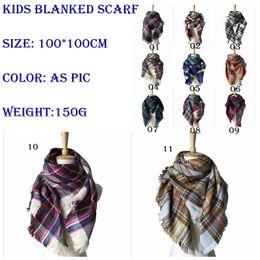 Wholesale Muffler Accessories - Kids Plaid Scarves Baby Striped Tassels Scarf Tartan Scarf Wraps Fashion Neckerchief Winter Shawl Ring Muffler Accessories Blankets YYA572