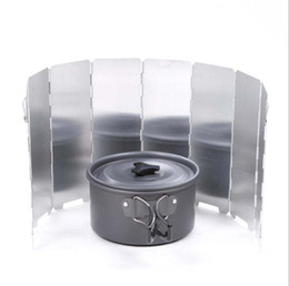 Wholesale Plates Windshield - 8 plates set Aluminium Windscreen for Camping Stove Foldable Outdoor WindShield Cookout Windbreak