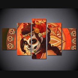 Wholesale Decorative Group Oil Painting - 5 Pcs Set No Framed HD Printed Day of the Dead Face Group Painting room decor print poster picture canvas decorative pictures
