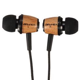 Wholesale Wooden Earphones Wholesale - 2016 Hot Original AWEI Q9 Super Bass Wooden 3.5mm Earphones For iPhone 5S 5C For Samsung For Cellphone