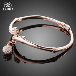 Wholesale Stellux Austrian Crystals - Fashion Jewelry Bangles AZORA Rose Gold Color Full Stellux Austrian Crystal Round Pendant Bangle Bracelet TB0012