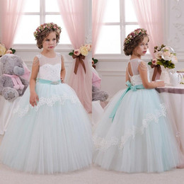 Wholesale Champagne Holiday Girl Dresses - 2016 Beautiful Mint Ivory Lace Tulle Flower Girl Dresses Birthday Wedding Party Holiday Bridesmaid Fancy Communion Dresses for Girls