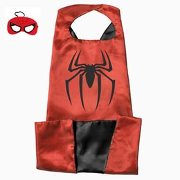 Wholesale Spiderman Birthday - 15 styles L110*70cm Adult Superhero capes with Mask Satin Fabric Spiderman Ironman Halloween Cosplay Costumes Birthday Party Gifts