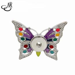 10 pcs bricolage bouton pression charmes résultats bijoux cristal émail papillon pression bouton broche Fit 18 MM 20MM pression bijoux MIA068 ? partir de fabricateur