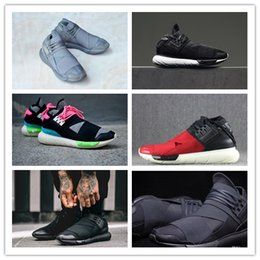 Wholesale New Style Flat Shoes - 2018 New Style Y-3 QASA RACER Hight Sneakers Breathable Casual Shoes Couples Y3 Outdoor Trainers Size Eur39-45