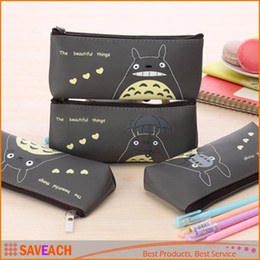 Wholesale Kawaii Pencil Cases - Cute Kawaii Fabric Pencil Case Lovely Cartoon Totoro Pen Bags For Kids Gift School Supplies Pen Bag Free Shipping