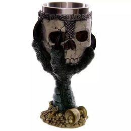 Wholesale Stereoscopic Glasses - 3D Stereoscopic Eagle Skull Goblet Horror Stainless Steel Creative Spirits Vodka Glasses Garnett Red Wine Goblets Gift