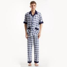 Wholesale Home Wear Pajamas Sleepwear - Wholesale-High Quality Men Pajamas Set Cotton Comfy Male Sleepwear Turn-Down Collar Short Sleeves Nightwear Breathable Home Wear
