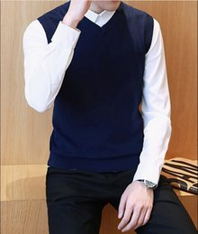 Wholesale Men S Pullover Sweater Vests - Men's Sweater Cotton Solid Color V Neck Casual Sweater Vest Men Pullover Knitted Sleeveless Men Sweater Christmas