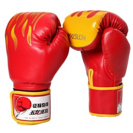 Wholesale fire half - Bokshandschoenen Fire Fighting Boxing MMA Gloves Professional Sanda Sandbag Leather Half Finger Fight Boxing Glove Free shipping