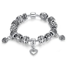 Wholesale Antique Bangle Bracelets - New Design Pandora Beads Antique Silver Charm Bracelet & Bangle Silver 925 With Heart Pendant for Women Wedding Vintage Jewelry Wholesale