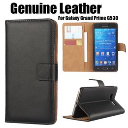 Wholesale Grand Flip Cover - For Galaxy G530 Grand Prime Real Genuine Wallet Leather Phone Case Cover with Card Money Pocket Flip Stand for Samsung G530F G5308