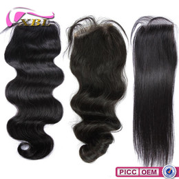 Wholesale Top Lace Closure Virgin Brazilian Human Hair Straight Loose Wave Body Wave Within Free Middle Part Three Part