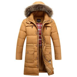 Wholesale Dog Down Coat - Fall-2015 Brand Duck Down Coat Men Long Jacket Fur Collar Hood Winter Parkas Clothing Outwear Overcoat Windproof Outdoor Tops Newest