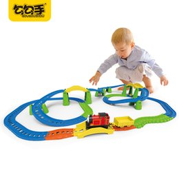 Wholesale Electric Rail Train - GouGouShou Baby Electric Rail Car Toy Cute Thomas Electric Train Simulate Railway Locomotive The Boys Best Christmas Gift