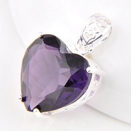 Wholesale Wholesale Fire - 10 Pcs 1 lot Lucky Shine Jewelry Superb Fire Heart Amethyst Crystal 925 Sterling Silver Russia American Australia Wedding Pendant Necklaces