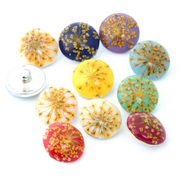 Wholesale Beads Amber - Mix Snap Button 18MM Amber Flowers Glass Rhinestone Jewelry Charms 10PC