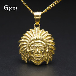 Wholesale Chief Skull - High Quality Hip Hop Pendant Necklaces For Men Indian Tribal Chiefs Charm Gold Plated stainless steel Jewelry Skull Hip-hop Accessories