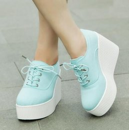 Wholesale Blue Platform Sneakers - Spring Wedge espadrilles fashion platform heels leisure canvas shoes solid color sneakers Free shipping
