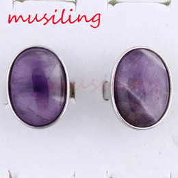 Wholesale Oval Cabochon Settings Silver - Charms Oval Cabochon Natural Stone Adjustable Rings Amethyst Aventurine etc Accessories Silver Plated Fashion Jewelry Reiki Amulet