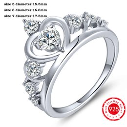 Wholesale Solid 925 Sterling Silver Charm - Charms Crown Rings Solid 925 Sterling Silver Round Clear Diamond CZ Accent King Queen Crown Half Eternity Ring Crown Lovers Gift NR17330A