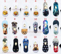 Wholesale Gun Socks - 20 Design 3D emoji animal Boat socks kids women men hip hop socks cotton skateboard printed gun tiger skull short socks B001
