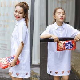 Wholesale Sexy Korean White Dress - harajuku 2017 white dress korean summer dress women new soft sister love heart-shaped hollow sexy dress embroidery women dresses