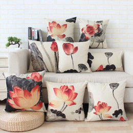 Wholesale Thickening Sofa - Ink Lotus Digital Printing Decoration Throw Pillow Case Thickened Cotton and Linen Cushion Cover Sofa Cushions 18x18
