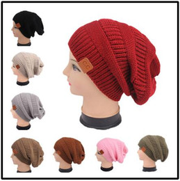 Wholesale Wholesale Crochet Beanies Women - 11 Colors CC Knitted Hats CC Trendy Beanie Women Winter Chunky Skull Caps Cable Knit Slouchy Crochet Hats Warm Oversized Hat CCA6862 30pcs