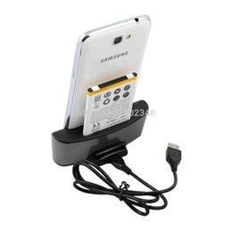 Wholesale Dual Charging Cradle Galaxy - Wholesale-10pcs lot 2in1 Dual USB3.0 Desktop Charging Dock Charger Cradle +USB Cable For Samsung Galaxy Note 2 II N7100 N7105 N7108 N719