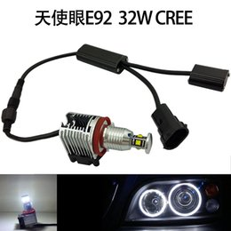 Wholesale Bmw E92 Headlight - 1PAIR BMW E92 E93 E82 E90 X5 X6 32W 6000K Super Bright Headlights LED Error Free Angel Eyes Halo Bulbs with Cooling Fan