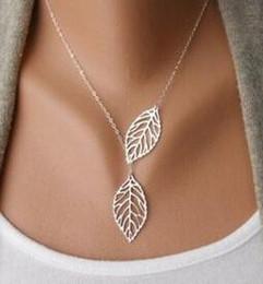Wholesale simple statement necklaces - New 2018 Designer Woman necklace Fashion Simple 2 Leaves Choker Necklace Collar Statement Necklace Women Jewelry