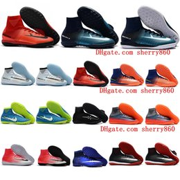 Wholesale Fire Football - 2018 mens soccer cleats mercurial superfly V TF IC Fire Ice football boots cr7 cleats indoor soccer shoes MERICURIALX PROXIMO II Cheap Turf
