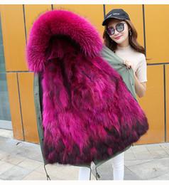 Wholesale Womens Fur Lined Winter Coats - Womens Real Fur Jackets Winter Parkas Long Coat Hoodies Fox Fur Lining Warm Thick Outwear Windbreaker New Fashion 2017 Blue Pink